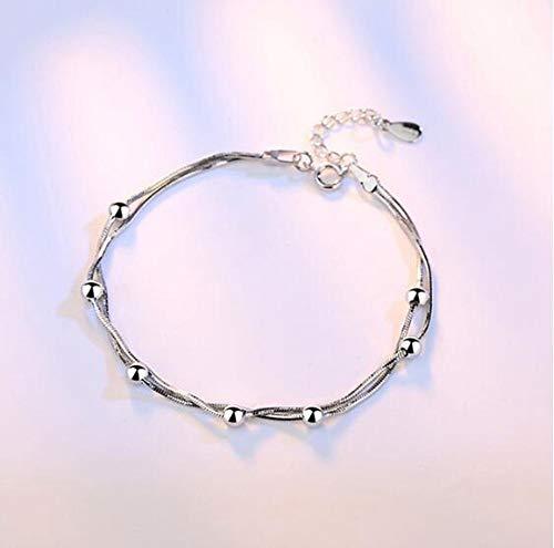 Sterling zilveren armband dames, Glamour Lady 925 sterling zilver retro meerlagige armband mode elegante kralen ketting persoonlijkheid zilveren armband eenvoudige comfortabele partij kerst verloving geboorte