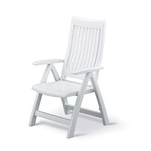 Kettler Gartenstuhl Hochlehner - stabiler Klappsessel für den Garten - Rückenlehne mehrstufig verstellbar - weiß