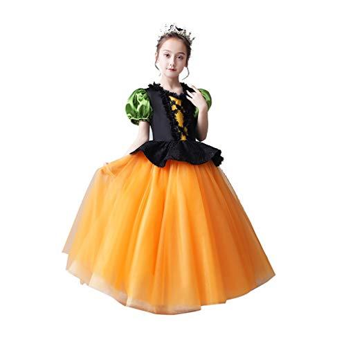 Disfraces de Halloween para niños Ropa Infantil De Halloween Vestidos De Princesa for Niñas Disfraces De Disfraces De Brujas Y Elfos De Disfraces Disfraces para Niños (Color : Orange, Size : 130cm)