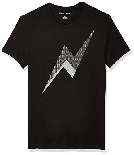 Kenneth Cole Men's Short Sleeve Crew Neck Lightning Bolt Graphic Tee, Black, Small
