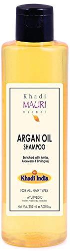 Glamorous Hub Khadi Mauri Champú de aceite de argán a base de que aumenta el crecimiento y el grosor del cabello enriquecido con amla bhringraj y aloe vera 210 ml (el empaque puede variar)