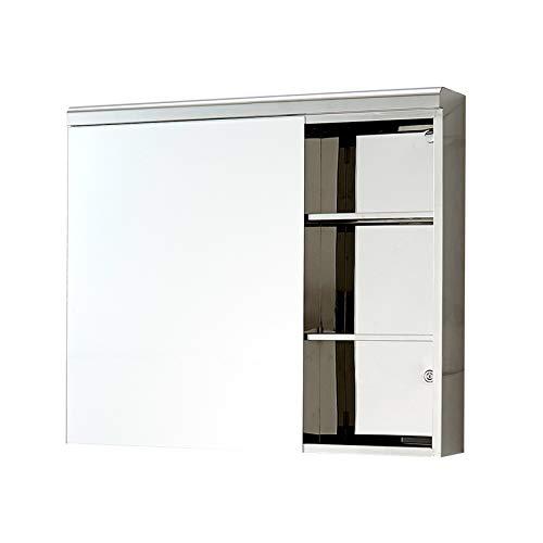 Armarios de Pared de Baño de Una Puerta con Espejo, Organizador de Medicinas de Cocina Multiusos de Acero Inoxidable,Bright right,700x600x130mm