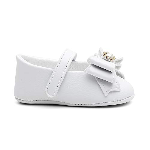 Sapatinho Sapatilha Infantil Primeiros Passos Menina Fofo Bebês (18, Branco)