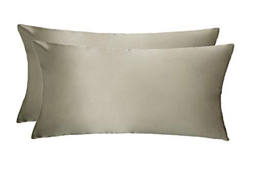 LULUSILK Funda de almohada de seda natural 100% pura para el cuidado del cabello y la piel, resistente a las arrugas, 19 Momme 100% seda, Cierre de cremallera [40 x 80cm - 2 piezas] Gris pardo