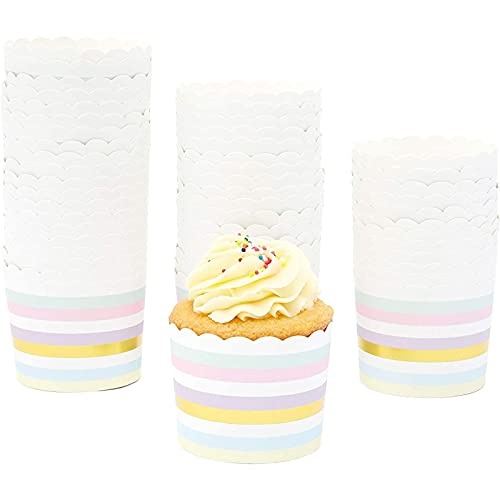 50-Pack Muffin Liners - Pastel and Gold Foil Striped Cupcake Wrappers Paper Baking Cups