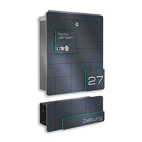 Metzler Design Briefkasten aus Edelstahl mit integrierter Funkklingel und Zeitungsfach - inkl. Gravur - Anthrazit RAL 7016 - Wand-Montage - Größe: 385x330x110 mm