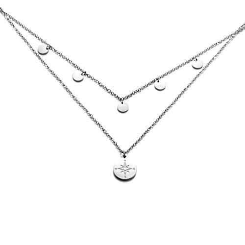 Kim Johanson Edelstahl Damen Multilayer Halskette *Coin & Kompass* in Silber mit 5 runden Plättchen (2 x Ketten Set) Boho Schmuck Kette verstellbar inkl. Schmuckbeutel