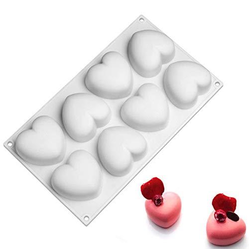 MKNZOME 8 cavité Gateau Moule en Silicone Cuisson Set Silicone pour décoration de gâteau Pouding à la gelée Candy Chocolate