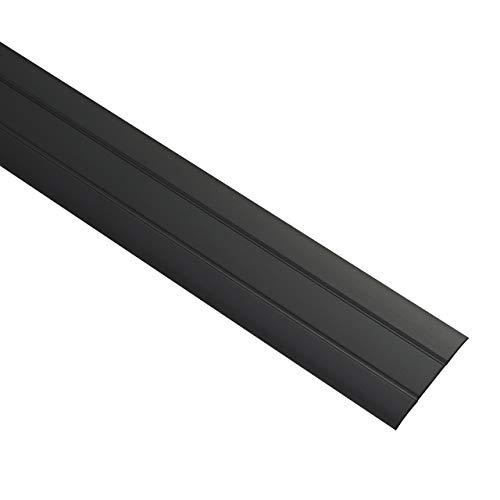 Gedotec Perfil de transición de aluminio autoadhesivo plano | Listón de suelo con ancho de 37 mm | Perfil de compensación negro anodizado | Listón de cobertura de 200 cm | 1 pieza – Perfil de suelo
