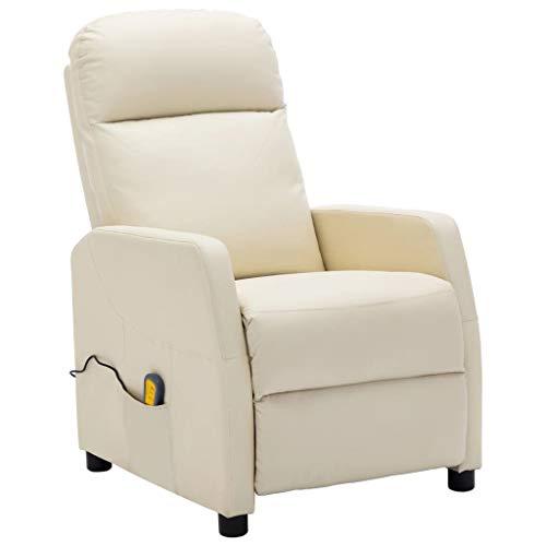 vidaXL Poltrona Massaggiante Reclinabile Bianco Crema in Similpelle
