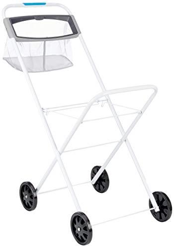 Hills Wäschetrolley, Metall, weiß/grau, mit schwarzen Rollen, 920 mm x 780 mm x 450 mm