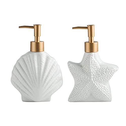 Soap Dispenser, 2 Pack Set White Ceramic Dish Soap Hand Soap Dispenser, Pump Bottles for Body Wash, Shampoo, Kitchen & Bathroom Sink, Stylish Modern Nautical Design, Starfish & Shell Shape