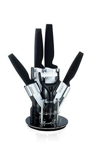 Royalty Line Lot de 4 Couteaux céramique + éplucheur céramique & Support Design Rotatif - Noir
