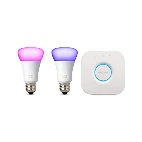 Philips Lighting White and Color Ambiance Starter Kit con 2 Lampadine Smart Attacco E27 e un Bridge Lighting per il Controllo del Sistema