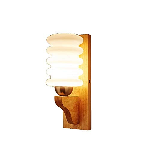 Moderne, minimalistische bedlampje voor slaapkamer, woonkamer, balkon, hal, hotel, wandlamp, creatief design, van massief hout, wandlamp van glas E27 lichtbron wand L