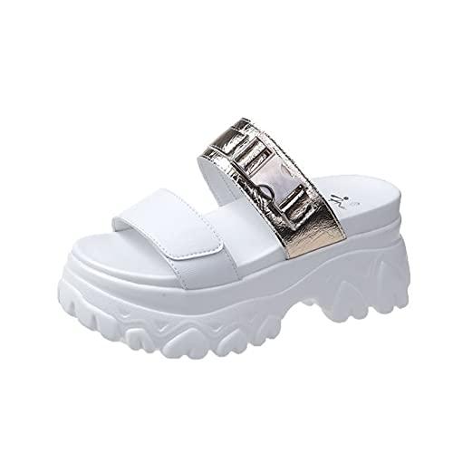 Sandalias planas de la moda del verano de las diapositivas de las mujeres de la plataforma de la comodidad de las vacaciones con, dorado, 35.5 EU