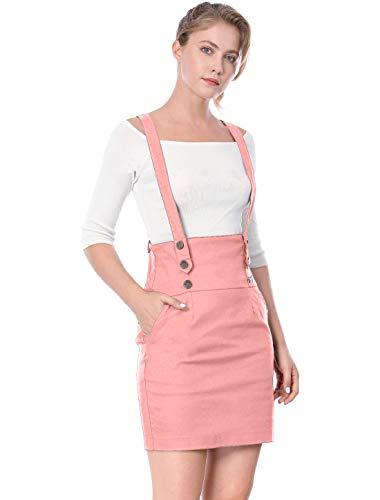 Allegra K Damen High Waist Button Träger Bleistiftrock Rock Rosa L