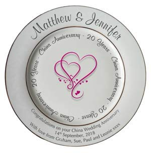 All About Names Personalized Bone China Commemorative Plate - 20th (China) Hearts Design