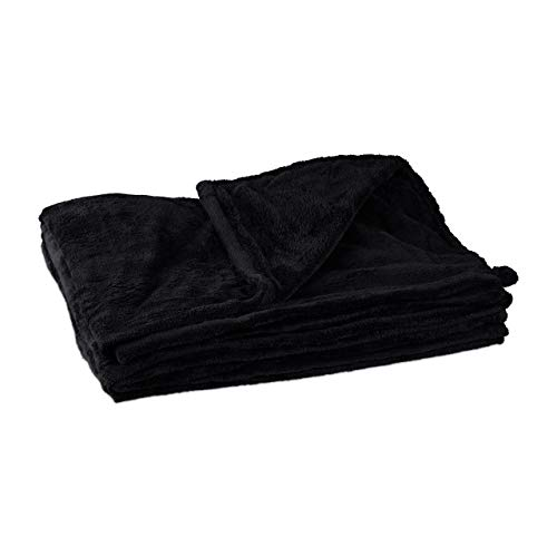 Relaxdays Kuscheldecke, groß, Fleece, bei 30°C waschbar, trocknergeeignet, HBT: 1 x 150 x 200 cm, schwarz