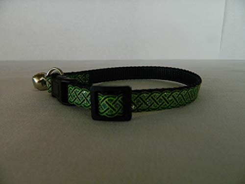 Schmoopsie Couture St Patrick's Day Black and Emerald Celtic Knots Kitten/Cat Collar (cat 8'-13')
