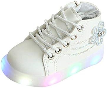 LHWY Botas de Cordones Invierno con Luces para Niñas Bebé Forradas Calentar Antideslizante Impermeable Zapatos de Deporte Zapatillas Botitas Patucos Casual Deportivo Suela Blanda Blanco 21