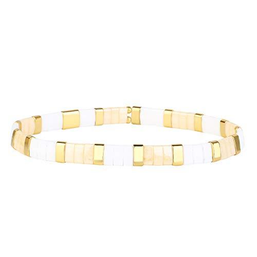 KELITCH Bunte Tila Stretch Armbänder Stapel Miyuki Fliesen Perlen Armbänder Handgemachte Manschette Armreifen - Weiß Rosa 11E