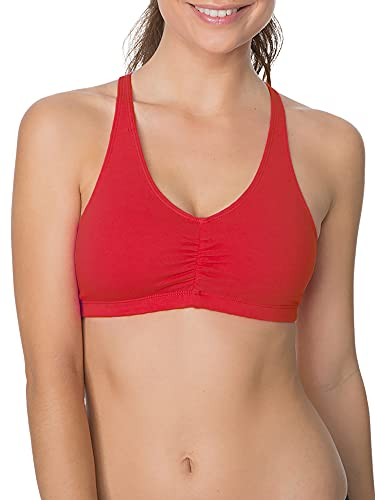 Fruit of the Loom womens Adjustable Shirred Front Racerback Sports Bra, Red Hot/Black/Heather Grey - 3-pack, 40 US