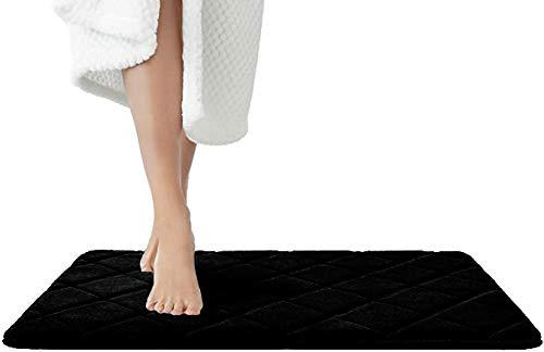 JAWAonline JAWA Badezimmerteppich Schwarz - Pflegeleichte Badematte Memoryschaum - Extrem Saugfähiger Badteppich - Duschvorleger - Badvorleger rutschfest Waschbar - Bad Teppich Badezimmer 50x80cm