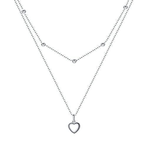 EVER FAITH Pequeño colgante de corazón para mujer y niña, plata de ley 925, rosario delicado con 2 capas