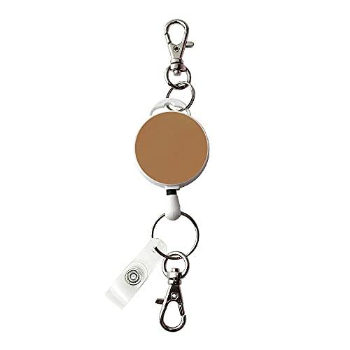 伸縮自在の吊り下げ名札用 リール フック付き/キャメル パスケースや名札、ストラップ、鍵等と一緒に