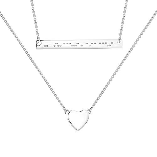 FJ Women' s Morse Code Necklace - I Love U Bar Multilayer Layered Necklace, Sterling Silver 925, Heart and Bar Necklace