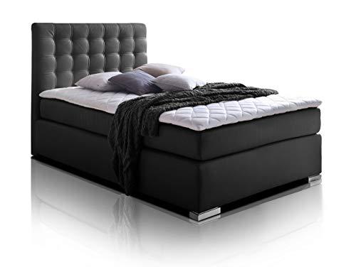 moebel-eins Isabell Plus Boxspringbett Hotelbett Bett amerikanisches Bett 7-Zonen-Multi-Tonnentaschenfederkern-Matratze, 90 x 200 cm, schwarz, Härtegrad 2