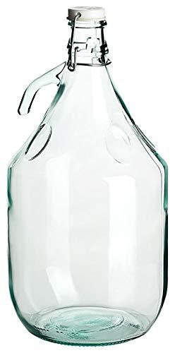 gouveo 2er Set leerer Glasballon mit Bügelverschluss 5 Liter zum selbst Abfüllen, 5.000 ml incl. Flaschendiscount-Rezeptbroschüre