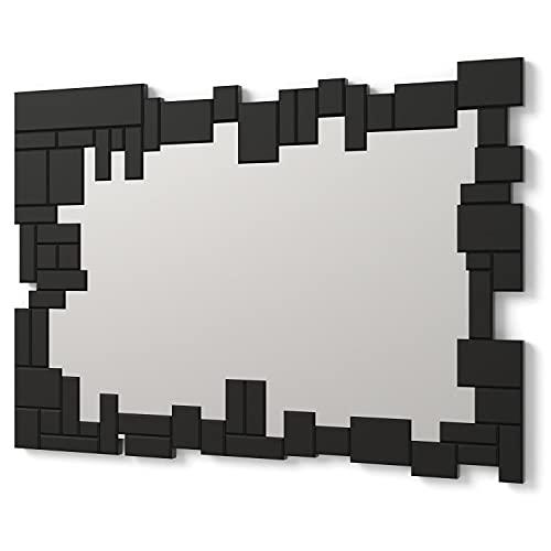 DekoArte E065 - Espejos Decorativos Modernos De Pared   Espejos Decoración para Tu Salón Dormitorio, Entrada, Recibidor   Espejos Sofisticados Grandes Rectangular Color Negro  1 Pieza 100 x 70 cm