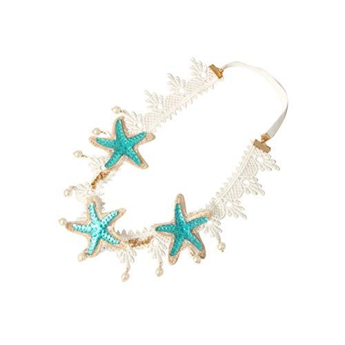 Lurrose Starfish Pearl Stirnband Spitze Haarband elastische Stirnband für Mädchen Frau
