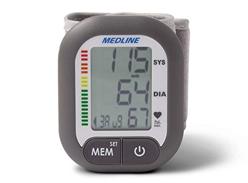 Medline MDS4003 Digital Wrist Blood Pressure Monitor, BP Cuff with Batteries Included (60 Reading Memory)
