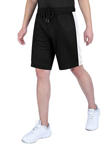 DISHANG Dri Fit Mesh Gym Running Shorts de Baloncesto para Hombre Bolsillos Laterales (Negro 2, M)