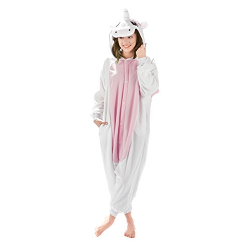 Emolly Fashion Adult Unicorn Animal Onesie Costume Pajamas for Adults and Teens (Large, Pink/White)