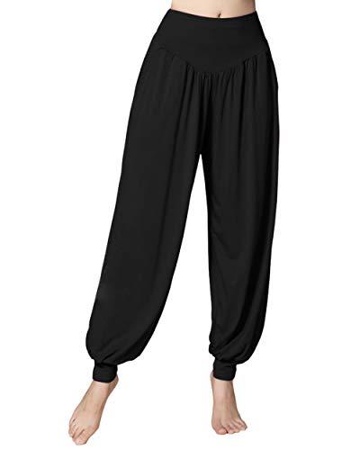 Doaraha Pantalon de Yoga Léger Long, Pantalon Décontracté de Sport de Printemps et d'Été, Pantalon de Pilates Taille Haute, Pantalon Doux de Survêtement, Sarouel Hip Hop Élastique, Noir, M