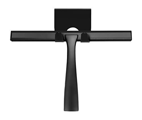 Ambrosya® | Extractor de Ducha Exclusivo de Acero Inoxidable | Extractor de baño Tirador de la Ducha Tirador de la Ventana Soporte del Limpiador WC (Acero Inoxidable (Negro))