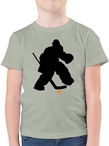 Sport Kind - Eishockeytorwart Towart Eishockey - 164 (14/15 Jahre) - Hellgrau - Shirt Eishockey Kinder - F130K - Kinder Tshirts und T-Shirt für Jungen