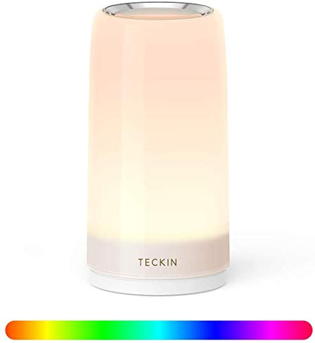Table Lamp LED Touch Bedside Lamp Nightstand lamp Night Lights, TECKIN Desk Lamps Dimmable Warm White Light & Color Changing RGB lamps for Bedrooms, Living Rooms and Office