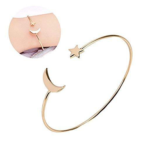 Armband Einfache offene Ausschnitt Manschette Mode Armband mit Mond Stern Dekoration für Frauen Mädchen(Gold)