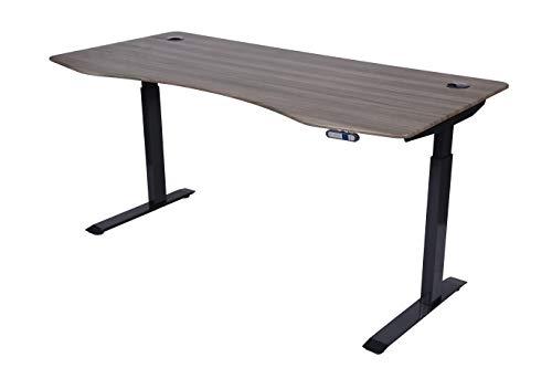 "ApexDesk Elite Series 71"" W Electric Height Adjustable Standing Desk (Memory Controller, 71"" Fox Teakwood Top, Black Frame)"