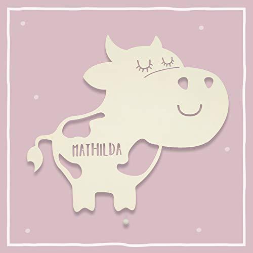 Nachtlicht Klara die Kuh Kinderzimmer-Lampe/Tauf-Geschenk oder zur Geburt/Personalisiert mit Wunsch-Name für Mädchen oder Jungen Schlummerleuchte Babyzimmer Stilleuchte [Energieklasse A++]