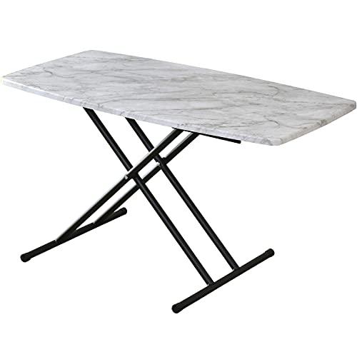 DORIS 昇降テーブル テーブル 折りたたみ 5段階調節 センターテーブル 机 完成品 幅100cm マーブル 大理石調 トリトン
