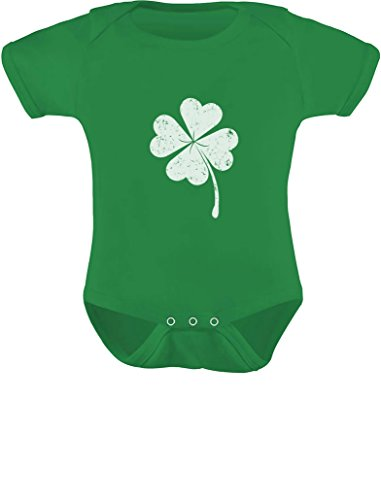 St. Patrick's Distressed Clover Lucky Charm Shamrock Baby Bodysuit Outfit 6M Green