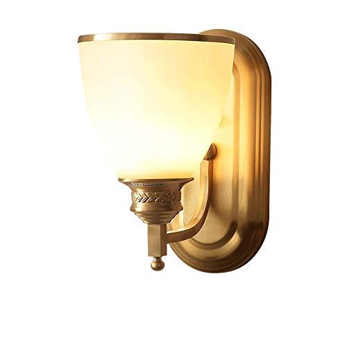 Accesorio de lámpara de pared de cobre, aplique de luces de pared americano de mediados de siglo con pantalla de vidrio blanco como la leche, iluminación de pared para del hogar interior para el baño