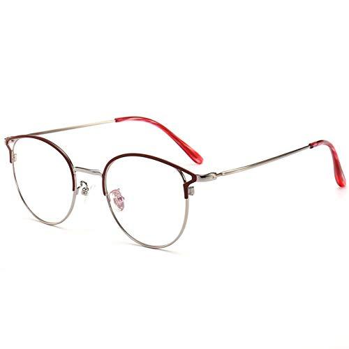 Rond half frame leesbril, ultra-licht metalen frame, progressieve multifocale lens, vrouwen leesbril,Red,+2.5