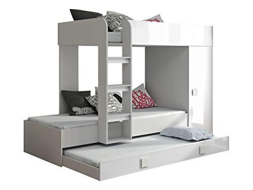 Etagenbett für Kinder Ritmo II, Stockbett mit Kleiderschrank, Kinderbett mit DREI Schlafflächen, Jugendbett, Farbauswahl, Bett (Weiß/Weiß Hochglanz + Weiß Griffe, ohne Matratze)